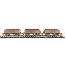 377-965 Tripple pack 13 ton high sided steel open wagons BR Bauxite